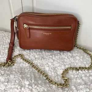 Coach Leather Legacy Flight Bag Cognac Crossbody